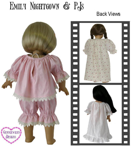 "Emily - Smocked Nightdress & PJs 18"" Doll Clothes"