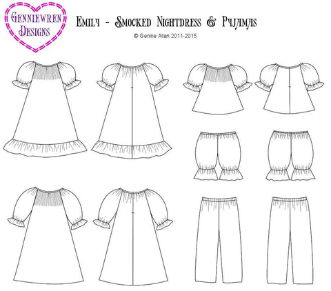 "Genniewren 18 Inch Historical Emily - Smocked Nightdress & PJs 18"" Doll Clothes Pixie Faire"