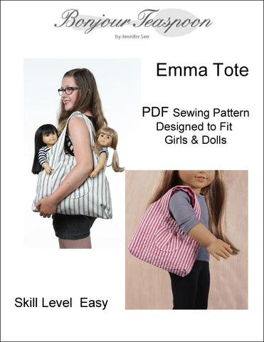 Bonjour Teaspoon 18 Inch Modern Emma Tote Bundled Pattern for Girls and Dolls Pixie Faire