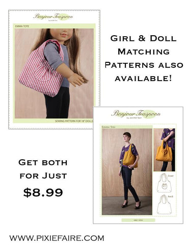 Emma Tote Bundled Pattern for Girls and Dolls