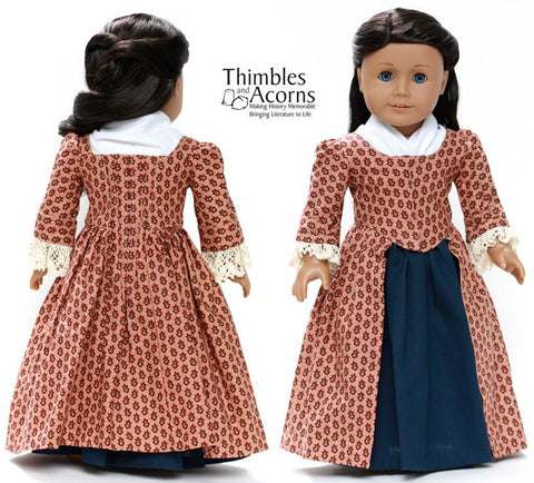 "1770 En Forreau' Gown 18"" Dolls Clothes Pattern"