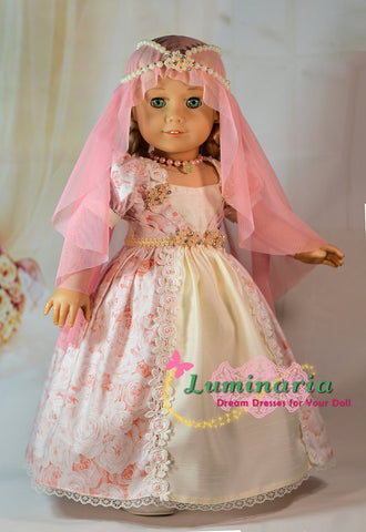 PDF doll clothes sewing pattern enchanted fairy tale princess wedding dress designed to fit 18 inch American Girl dolls