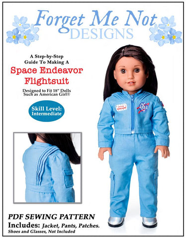 "Forget Me Not Designs 18 Inch Modern Space Endeavor Flightsuit 18"" Doll Clothes Pattern Pixie Faire"
