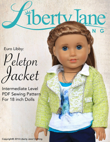 "Liberty Jane 18 Inch Modern Peleton Jacket 18"" Doll Clothes Pattern Pixie Faire"