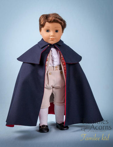 18 inch doll clothes PDF sewing pattern historical george washington cloak designed to fit American Girl boy doll