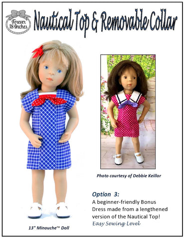 "Nautical Top & Removable Collar 13-14.5"" Doll Clothes Pattern"