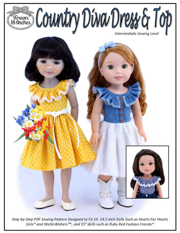 "Country Diva Dress & Top 14"" - 15"" Doll Clothes Pattern"