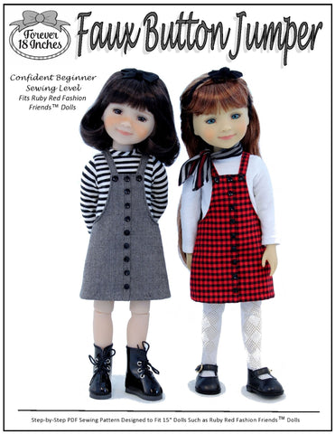 Forever 18 Inches Ruby Red Fashion Friends Faux Button Jumper Doll Clothes Pattern For Ruby Red Fashion Friends Pixie Faire