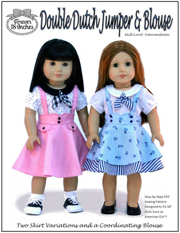 "Double Dutch Jumper and Blouse 18"" Doll Clothes Pattern"