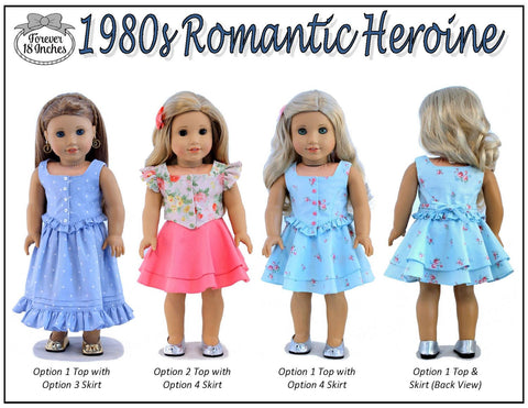 "1980s Romantic Heroine 18"" Doll Clothes Pattern"