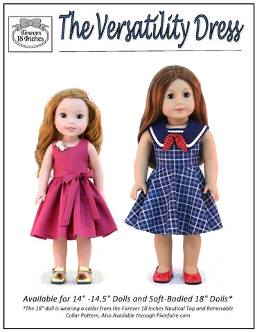 "The Versatility Dress 14-14.5"" Doll Clothes Pattern"