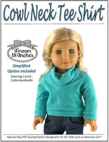 "Cowl Neck Tee Shirt 18"" Doll Clothes Pattern"