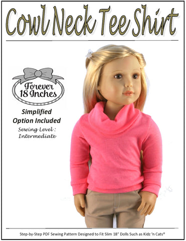 Cowl Neck Tee Shirt Pattern for Kidz N Cats Dolls