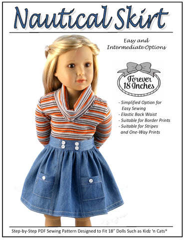 Nautical Skirt For Kidz N Cats Dolls