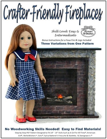"Forever 18 Inches 18 Inch Modern Crafter-Friendly Fireplaces for 14"" - 19"" Dolls Pixie Faire"