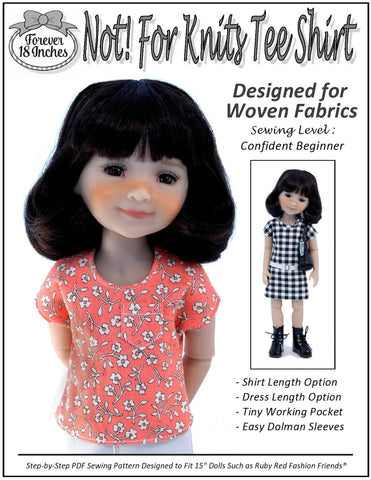 "NOT! For Knits Tee-Shirt Pattern for 15"" Ruby Red Fashion Friends Dolls"