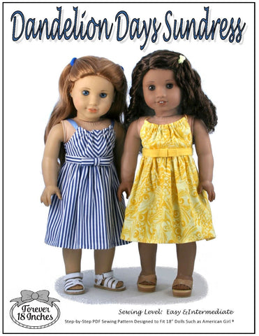 "Forever 18 Inches 18 Inch Modern Dandelion Days Sundress 18"" Doll Clothes Pattern Pixie Faire"