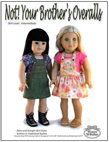 "Forever 18 Inches 18 Inch Modern NOT!  Your Brother's Overalls 18"" Doll Clothes Pixie Faire"