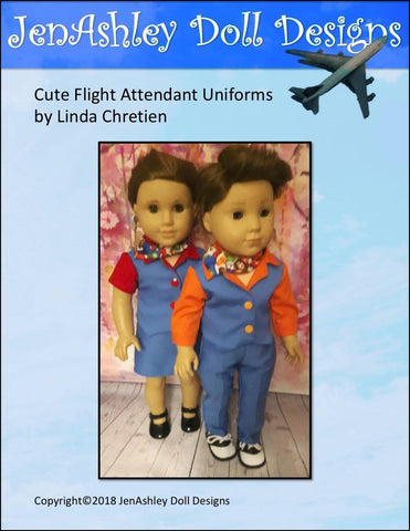 "Welcome Aboard! Flight Attendant Uniform 18"" Doll Clothes Pattern"