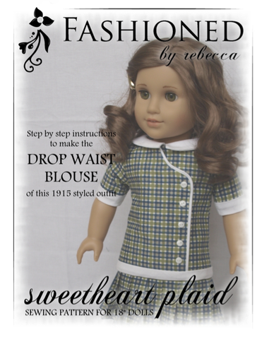 "1915 Sweetheart Plaid Blouse 18"" Doll Clothes Pattern"