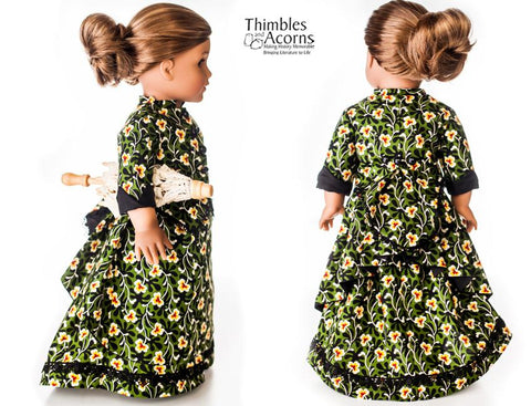 "1870's Bustle Dress 18"" Doll Clothes Pattern"