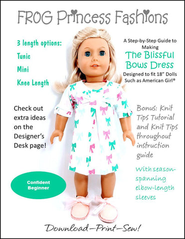 "Blissful Bows Dress 18"" Doll Clothes Pattern"