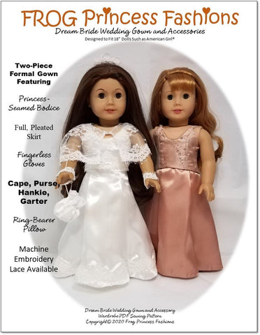 "Frog Princess Fashions 18 Inch Modern Dream Bride Wardrobe 18"" Doll Clothes Pattern Pixie Faire"