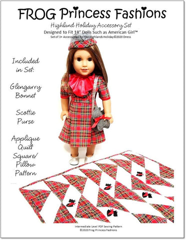 "Frog Princess Fashions 18 Inch Modern Highlands Holiday Accessory Set 18"" Doll Clothes Pattern Pixie Faire"