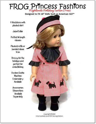"Highlands Holiday Tartan Dress 18"" Doll Clothes Pattern"