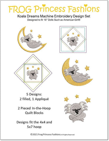 "Koala Dreams 18"" Doll Machine Embroidery Design"