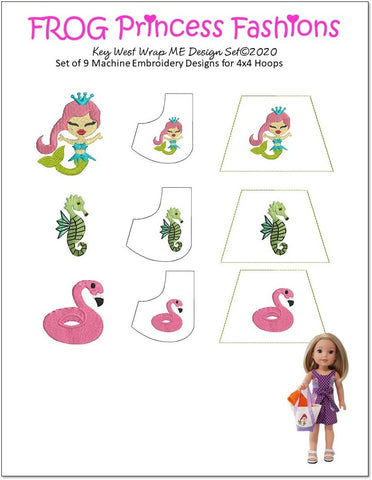 "Key West Machine Embroidery Design Set For 14.5"" Doll Clothes"
