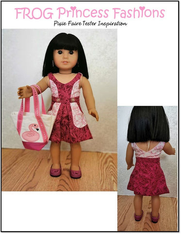 "Key West Wrap Dress, Top, Skirt, and Bag 18"" Doll Clothes Pattern"