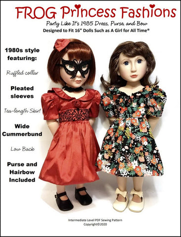 "Party Like It's 1985 Dress Pattern For 16""  A Girl For All Time Dolls"