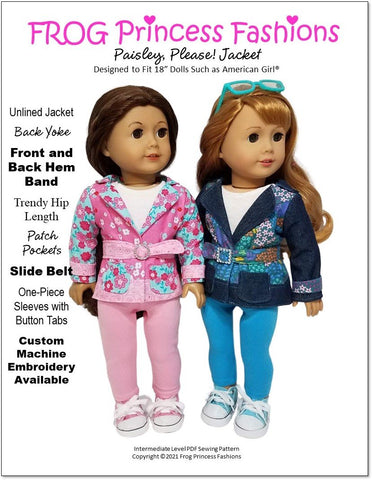 "Paisley, Please! Jacket 18"" Doll Clothes Pattern"