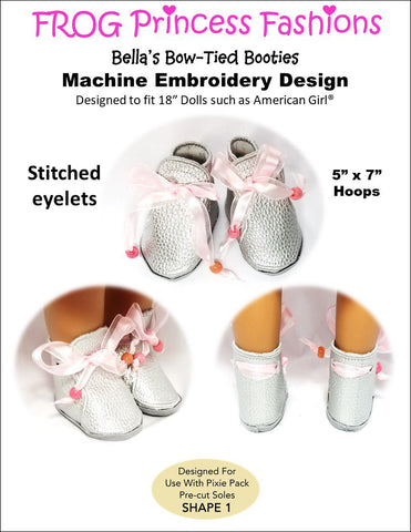 "Bella's Bow Tied Booties 18"" Doll Machine Embroidery Design"