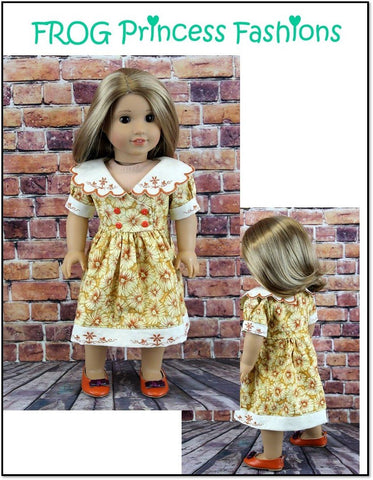 pdf doll clothes pattern Frog Princess Fashions Charm School dress designed to fit 18 inch American Girl dolls