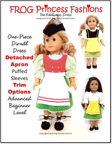 "Frog Princess Fashions 18 Inch Historical Edelweiss Dress Set 18"" Doll Clothes Pattern Pixie Faire"