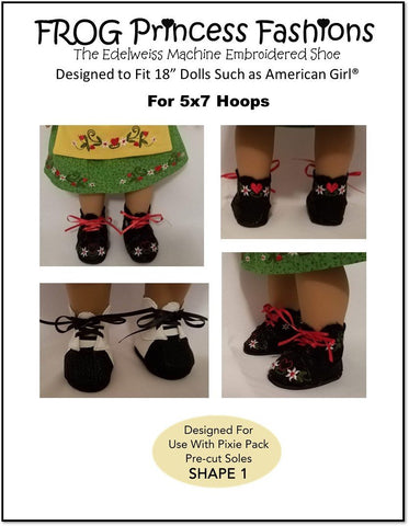"Edelweiss Shoes 18"" Doll Machine Embroidery Design"