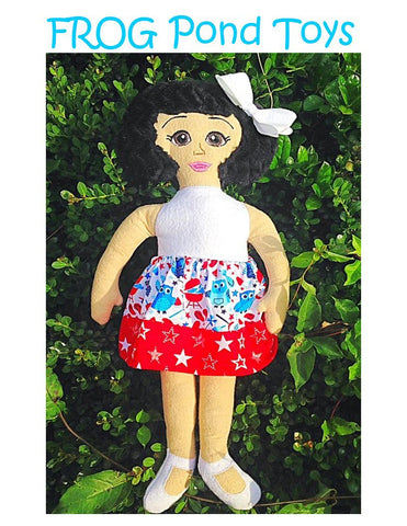 "Frog Pond Toys Flower Girls Cicely ITH 18"" soft doll machine embroidery design"