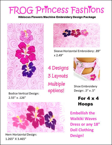"Free Hibiscus Machine Embroidery Design For 18"" Dolls"