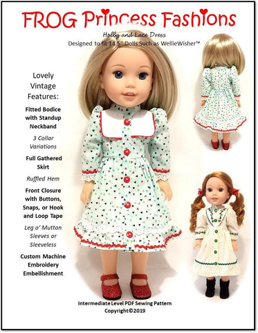 "Holly and Lace Dress 14.5"" Doll Clothes Pattern"