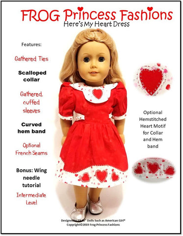 "Here's My Heart Dress 18"" Doll Clothes Pattern"