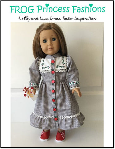 "Holly and Lace Machine Embroidery Design Set For 18"" Doll Clothes"