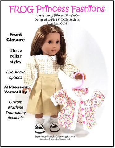"Lori's Lacy Blouse 18"" Doll Clothes Pattern"