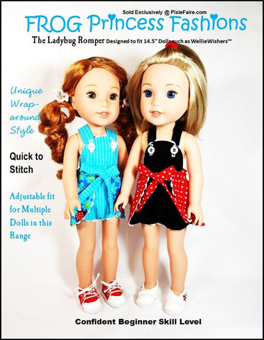 PDF doll clothes sewing pattern Frog Princess Fashions Ladybug Romper designed to fit 14.5 inch WellieWishers dolls