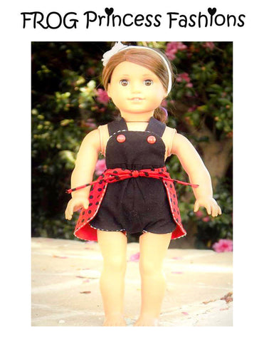 pdf doll clothes sewing pattern ladybug romper designed to fit 18 inch American Girl dolls
