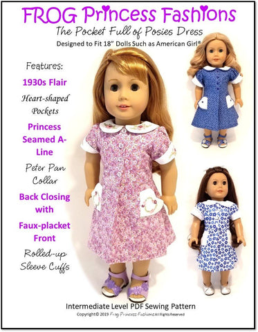"Pocket Full Of Posies 18"" Doll Clothes Pattern"