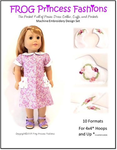 "Pocket Full Of Posies Machine Embroidery Design Set For 18"" Doll Clothes"