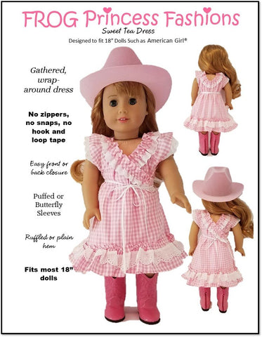 "Frog Princess Fashions 18 Inch Modern Sweet Tea Dress 18"" Doll Clothes Pattern Pixie Faire"