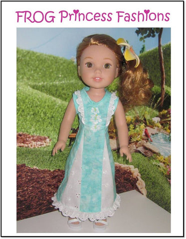 pdf doll clothes sewing pattern Frog Princess Fashions Waikiki Waves dress designed to fit 14.5 inch WellieWishers dolls